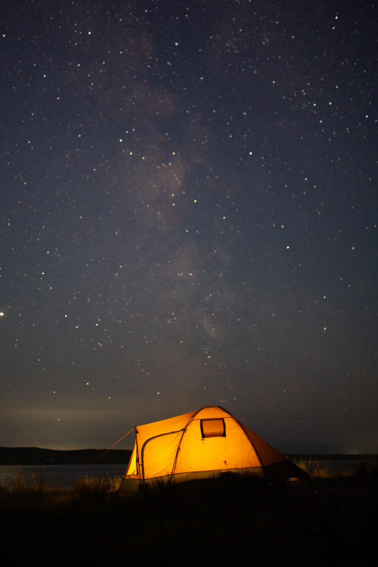 tent under the starry sky
